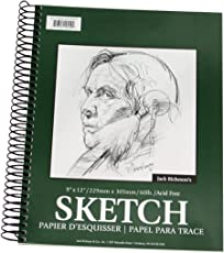 Jack Richeson 100 Sheet Spiral Drawing Paper Pad, 9-inch-by-12-inch