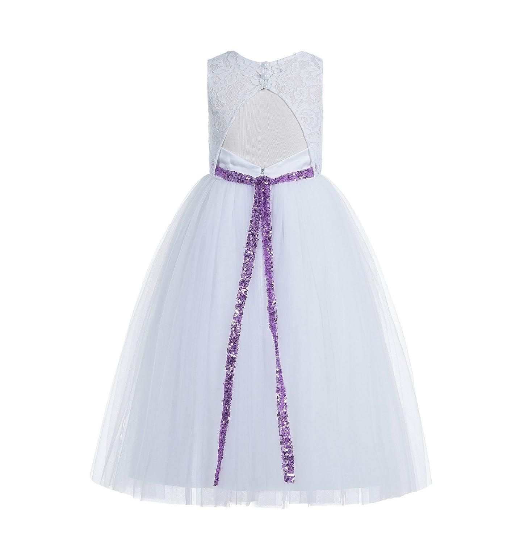 5aab4e0930a8 Amazon.com: ekidsbridal Floral Lace Scoop Neck A-Line White Flower Girl  Dresses Keyhole Back Communion Dresses Pageant Dress 178: Clothing