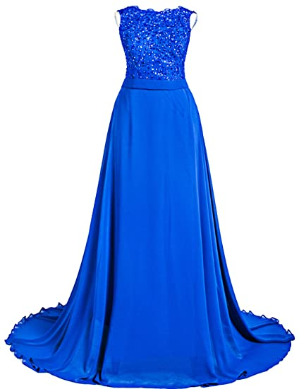 Sarahbridal Womens Long Appliqued Prom Evening Dresses Chiffon Wedding Guest Party Gowns SSD251 Royal Blue UK12