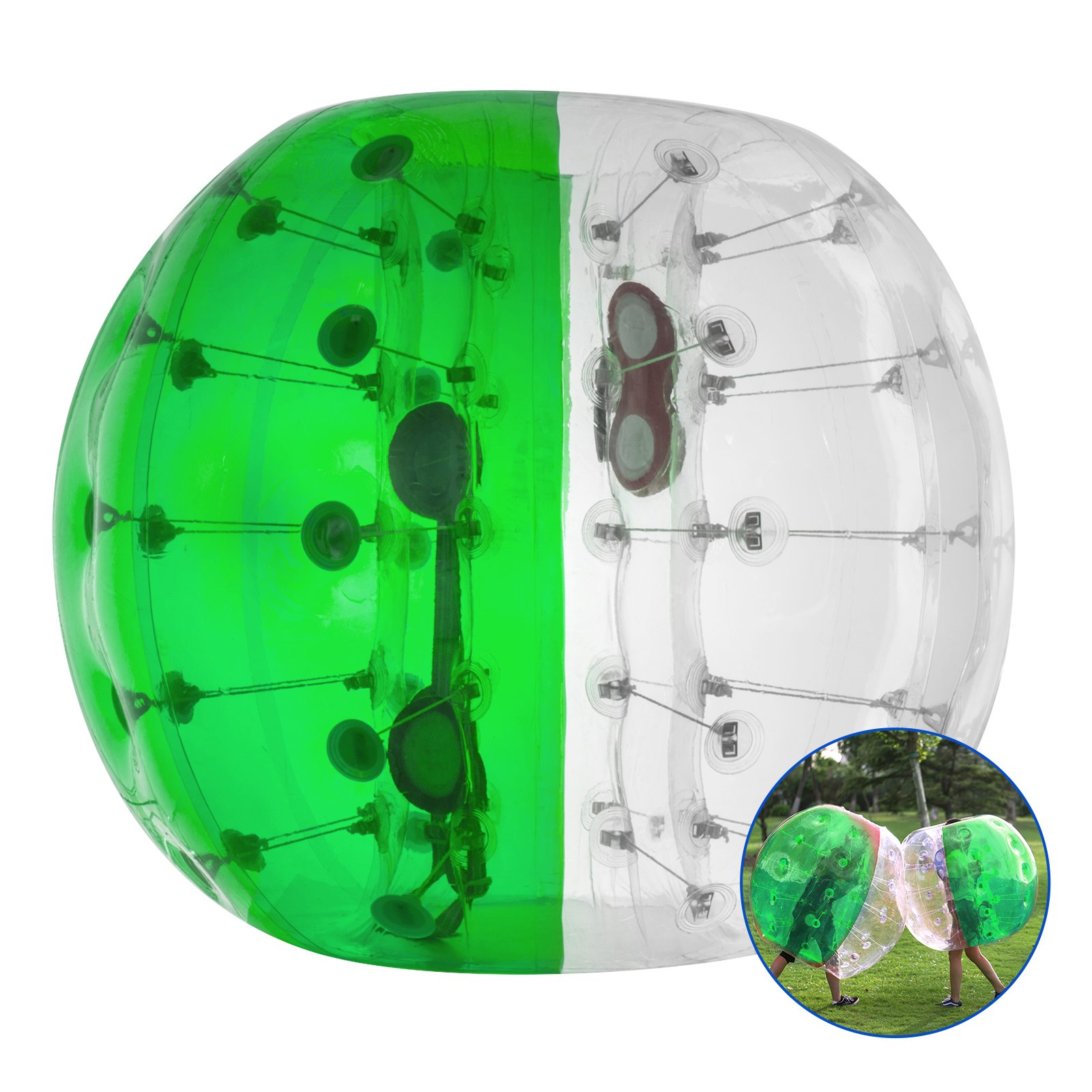 LOVSHARE 5FT Inflatable Bumper PVC Bubble Soccer Ball Dia 5FT 1.5M Zorbing Giant Human Hamster Ball for Adults or Child (5FT Green and Transparent) by LOVSHARE