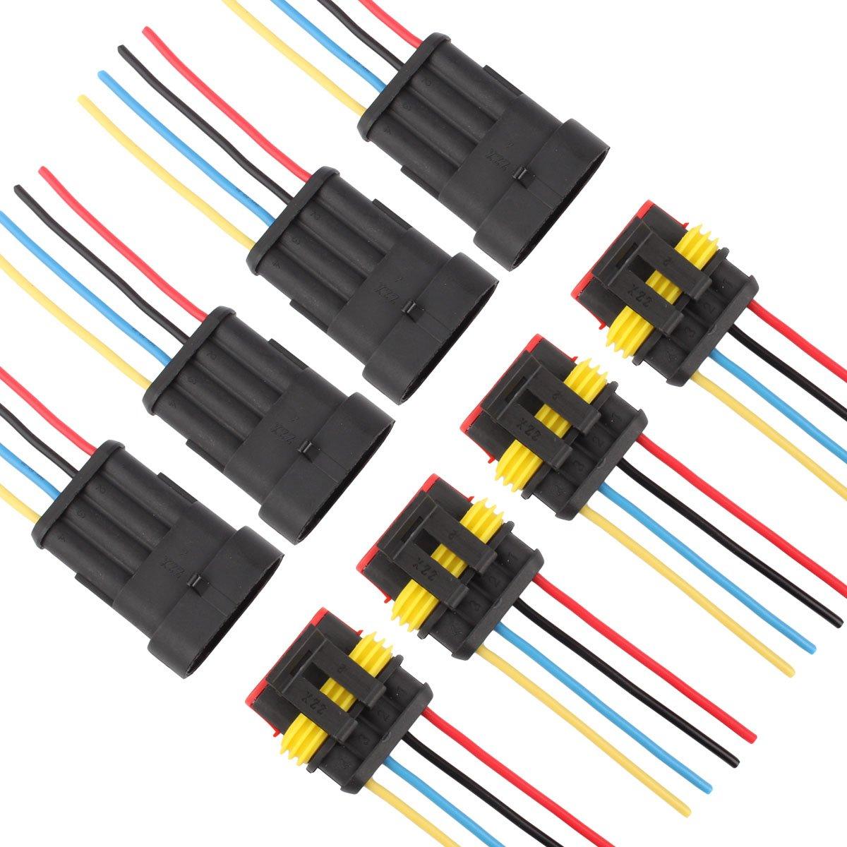 TOMALL 1 broche Way 16 AWG Voiture Étanche Connecteur pour Prise Électrique à Prise Rapide 1 Fil de Tresse 1.5mm Série (Lot de 6)