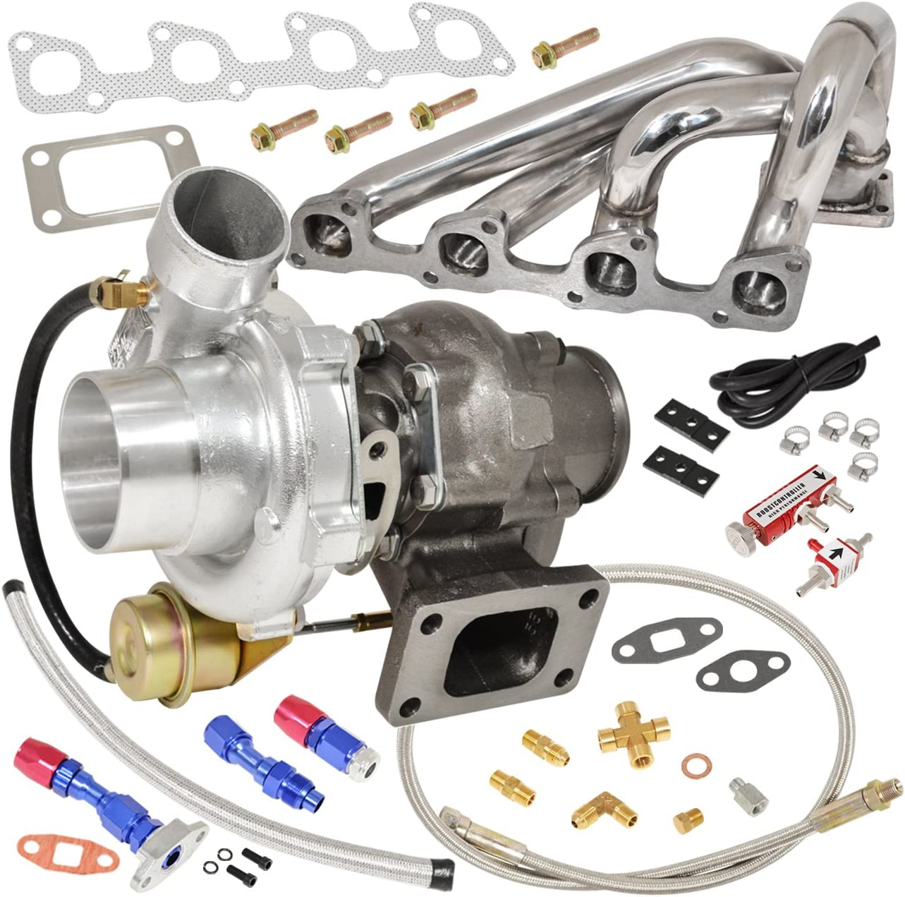 volvo 240 740 940 2 3l n a engine manifold stainless steel t3 t4 v band oil cooled turbo charger with internal wastegate oil return drain line kit boost controller red volvo 240 740 940 2 3l n a engine