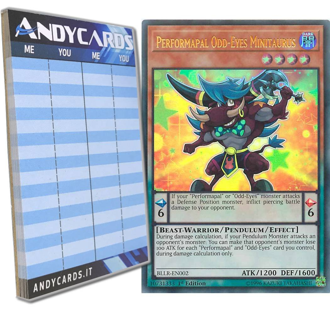Yu-Gi-Oh! - PERFORMAPAL ODD-EYES MINITAURUS - Ultra Rare BLLR-EN002 in ENGLISH + Andycards Scorepad