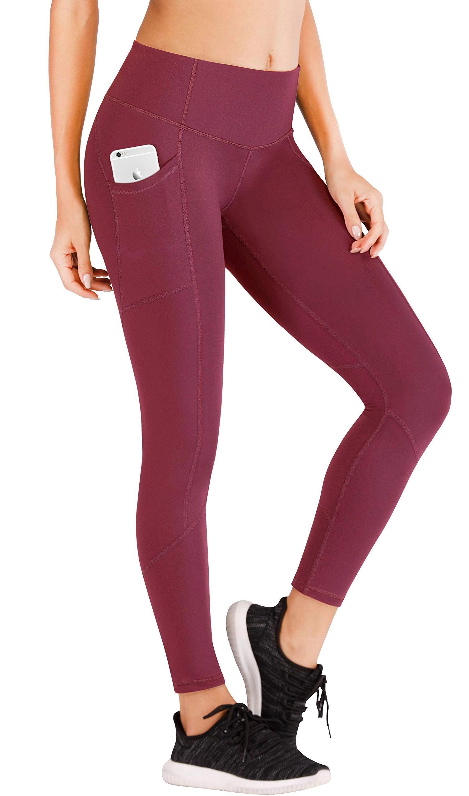 Ewedoos Yoga Pants with Pockets for Women Ultra Soft Leggings with Pockets High Waist Workout Pants (7340 Maroon, X-Large) by Ewedoos