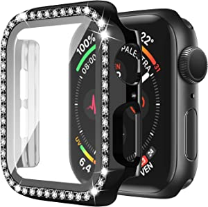 Bling Apple Watch Case 44mm Series 6/5/4/SE with Screen Protector Crystal Diamond Full Cover Apple Watch Protective Case Shock-Proof Resist Bumper Case Cover for Women Girl New Gen iWatch (Black)