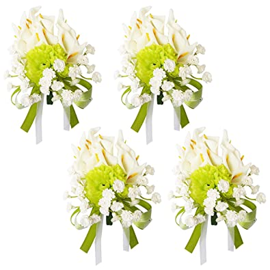 Amazon rarelove 4pcs wedding prom groom calla lily boutonniere rarelove 4pcs wedding prom groom calla lily boutonniere green white flower corsage pins set for men mightylinksfo