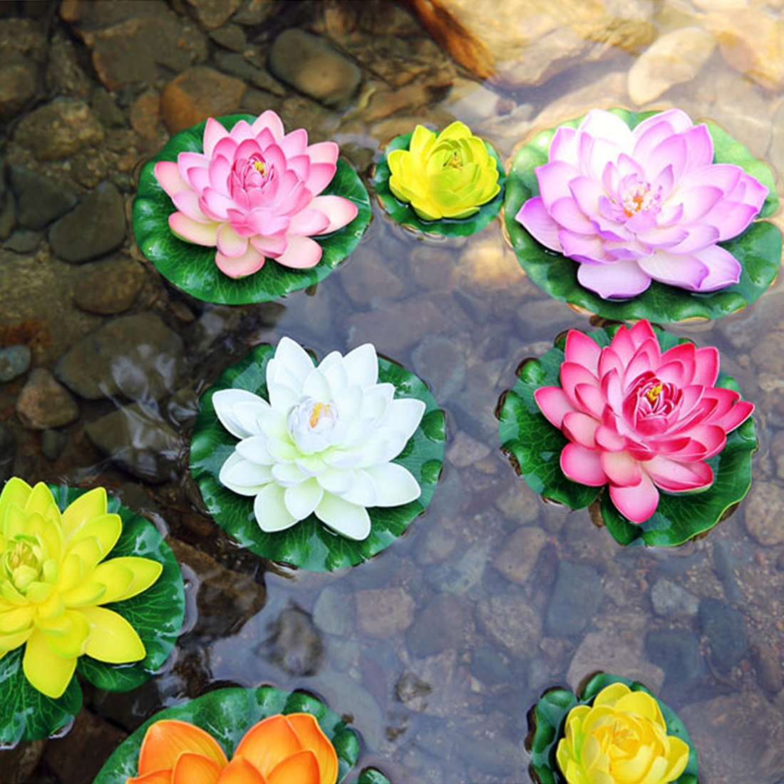 LSHCX Artificial Floating Lotus Flower for Pond Decor 6 Pack of Water Lily