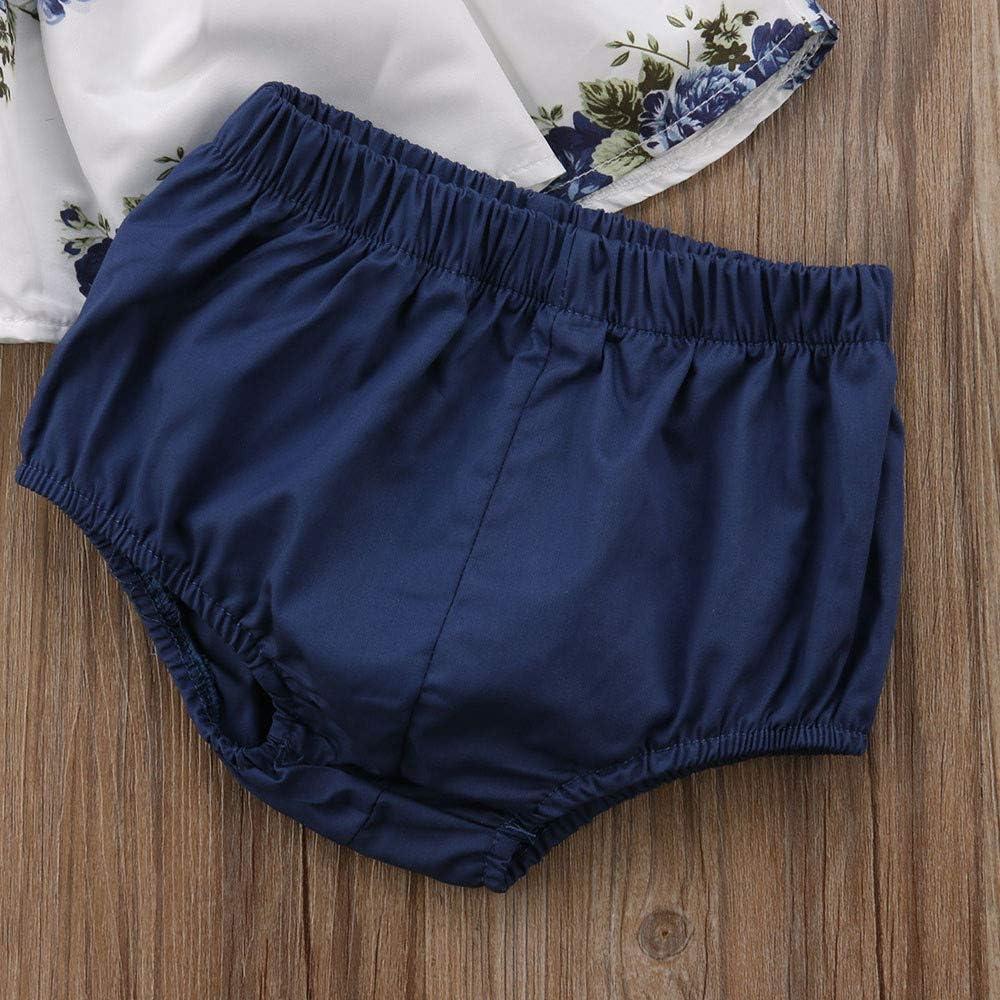 Kobay Baby M/ädchenkleidung Set Baby M/ädchen Sommer Floral T-Shirt Kleid Tops Shorts Hosen Kleidung Outfit 2pcs Set