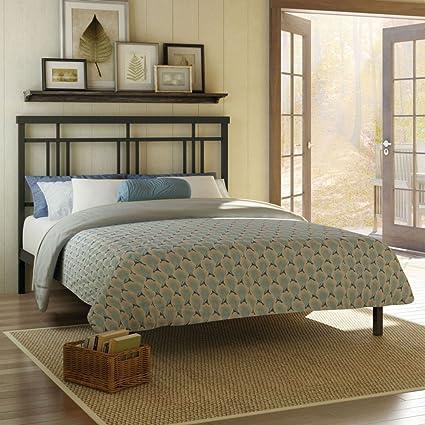 Amisco Cottage Metal Platform Bed Queen Size 60 Cobrizo Textured Dark Brown