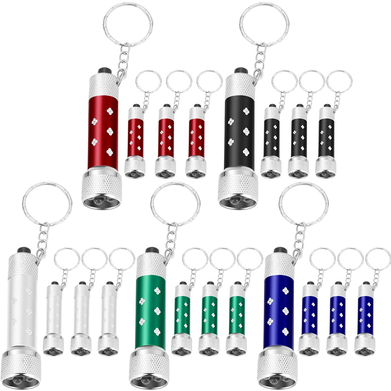 Style 1 20 Pi/èces de Mini Lampes de Poche avec Porte-Cl/és 5 Ampoules LED de Porte-Cl/és pour Camping d/'Enfants et Faveur de F/ête
