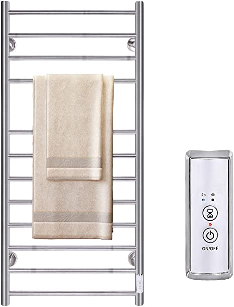 Jslove Heated Towel Warmer Wall Mounted For Bathroom 12 Bars Hot Electric Towel Warmer With Timer Stainless Steel Towel Drying Rack Plug In Hardwired Brushed Home Kitchen