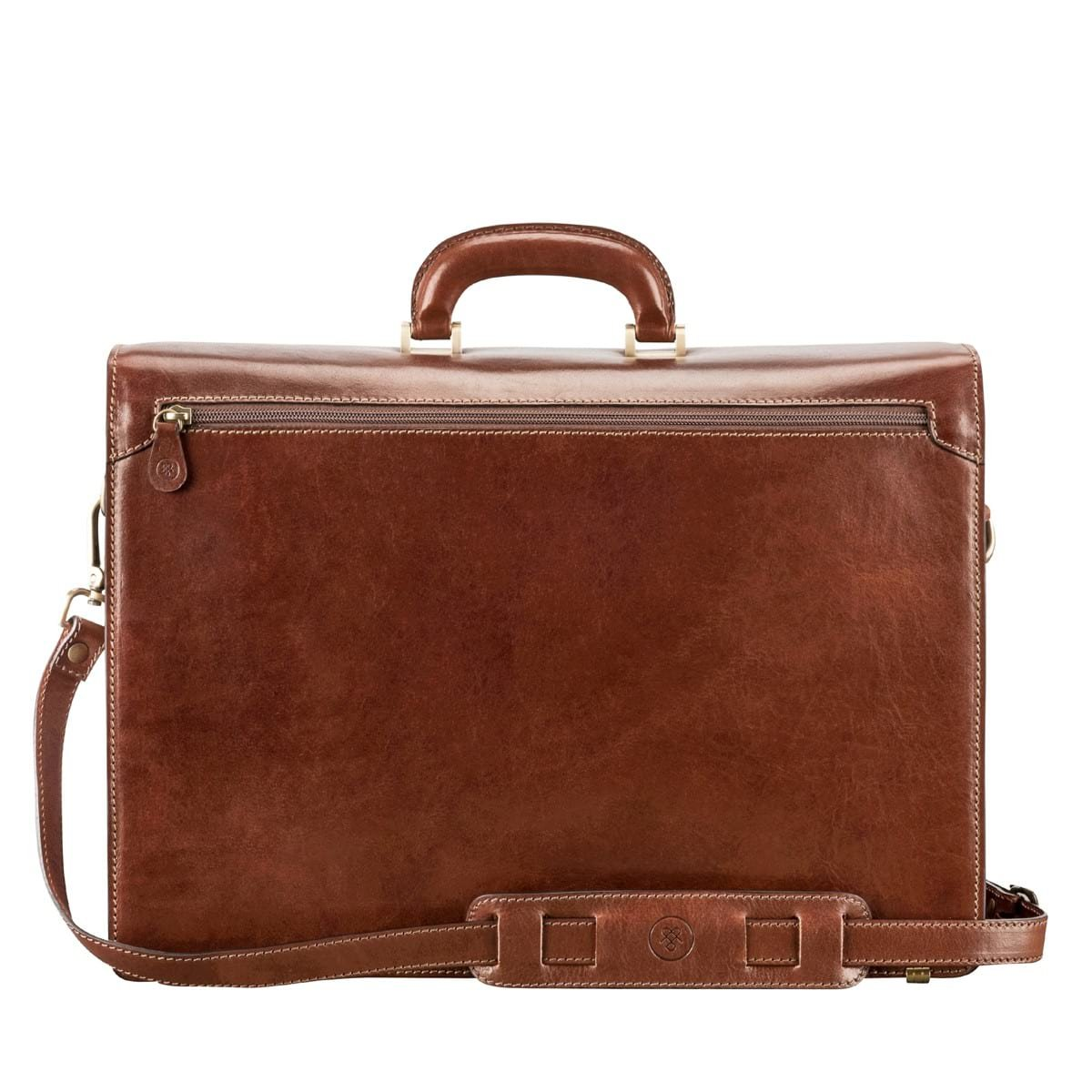 Maxwell Scott Personalized Luxury Tan Large Briefcase (The Tomacelli 3 section) by Maxwell Scott Bags (Image #6)
