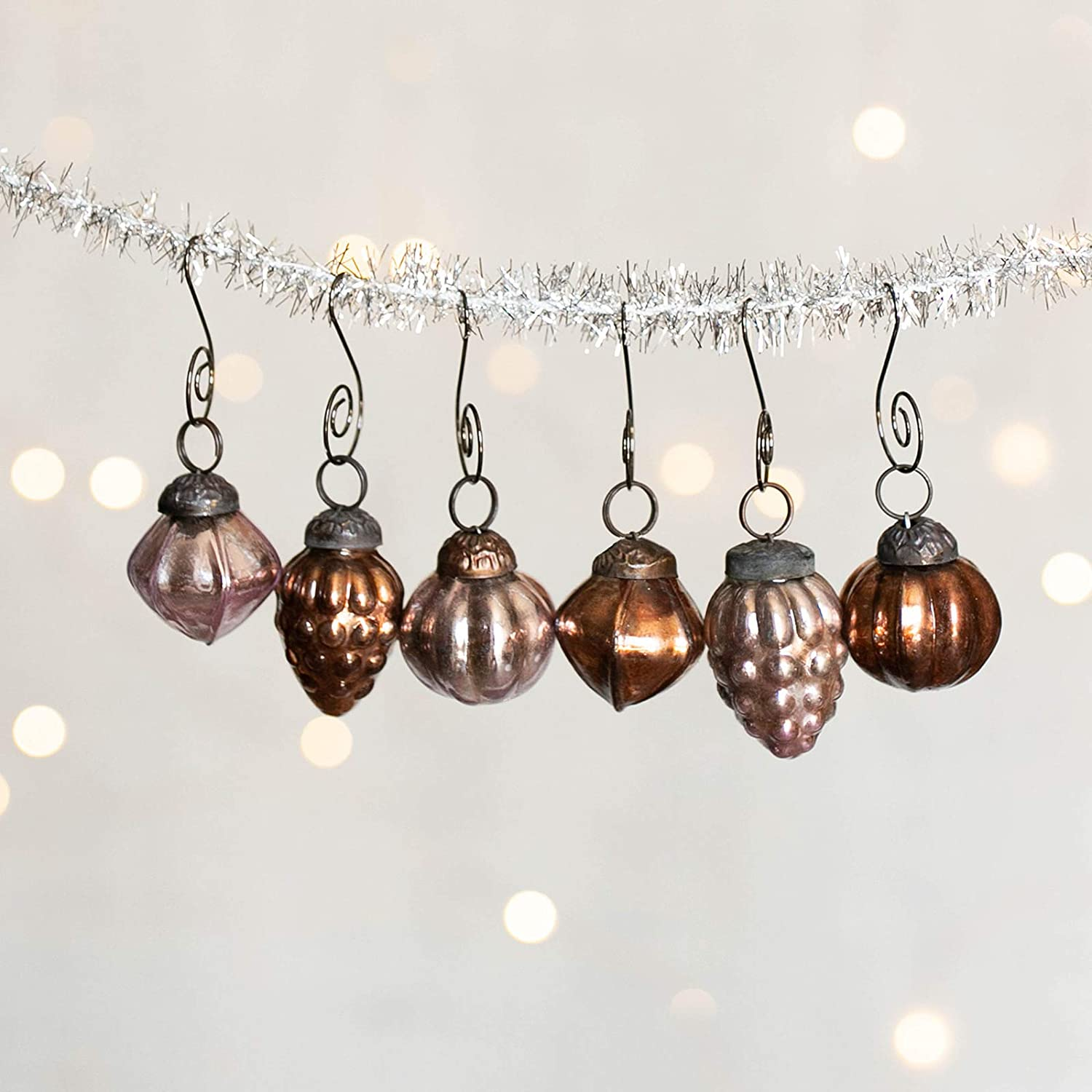 "6 Bronze & Plum Christmas Mercury Ornaments Vintage Antique Look 1.5"" Holiday Decoration Perfect for Your Xmas Tree & Hostess Gift Includes 6 Swirl Hooks"