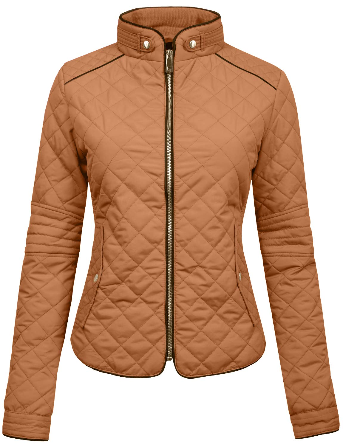NE PEOPLE Womens Lightweight Quilted Zip Jacket, Small, NEWJ22CAMEL