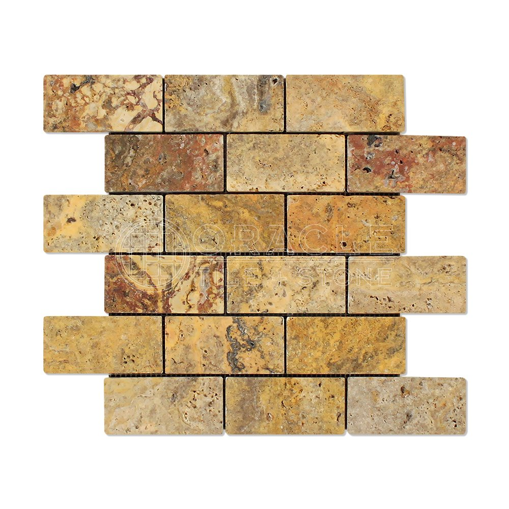 Scabos 2 X 4 Tumbled Travertine Brick Mosaic Tile (Box of 5 sq. ft.)