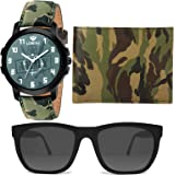 LORENZ Army Design Men's Watch, Army Design Wallet & Black Sunglasses Combo for Men | Combo for Boys | CM-2069SN-WL-23