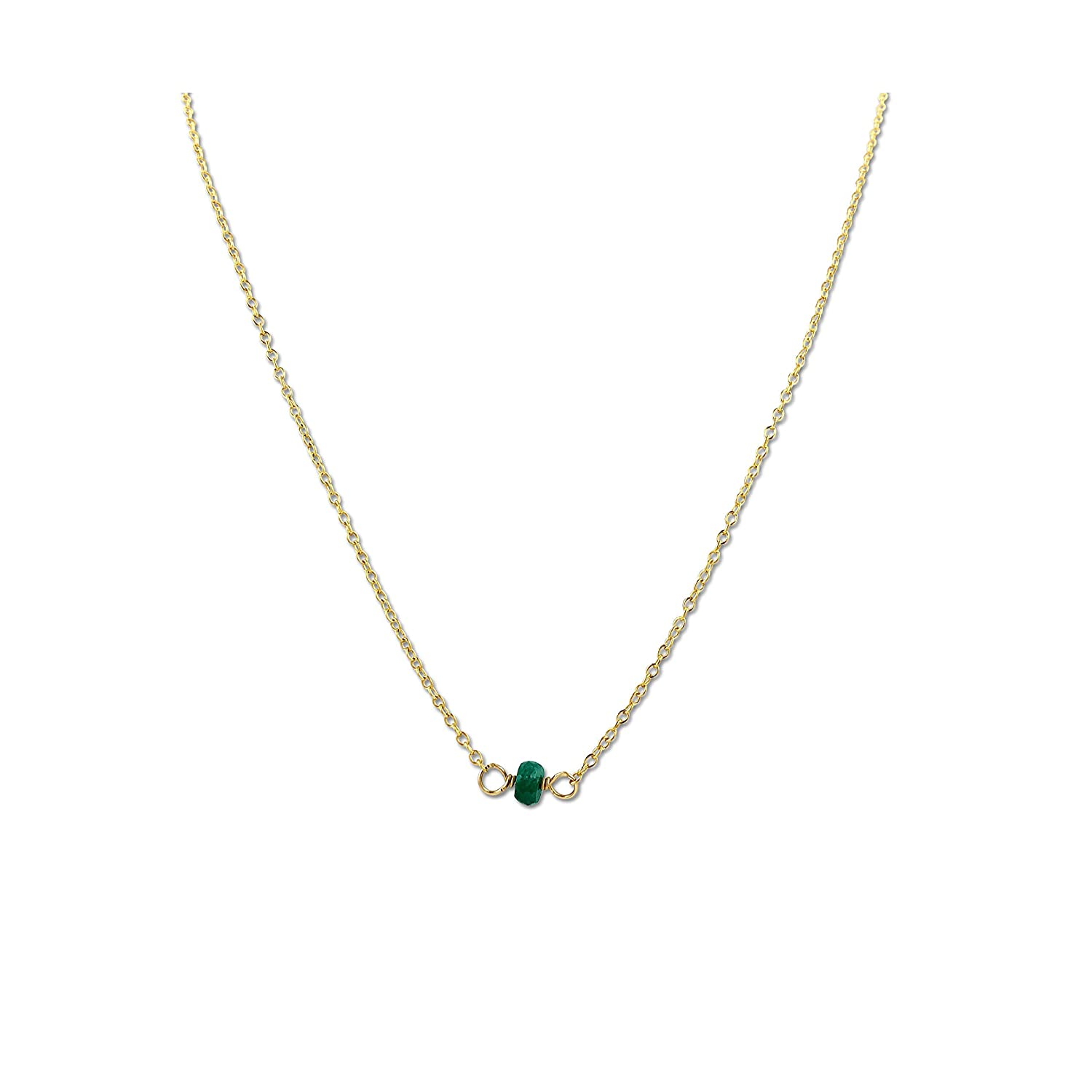 Handmade Gemstone Jewelry 14 Inches Long Yellow Gold Fill Gold Emerald Choker Necklace May Birthstone