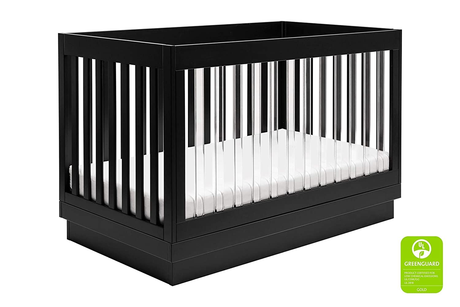 Babyletto Harlow Acrylic 3-in-1 Convertible Crib with Toddler Bed Conversion Kit, Black with Black Base and Acrylic Slats
