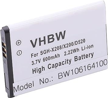 vhbw Baterías Li-Ion 600mAh (3.7V) para móvil Smartphone teléfono ...