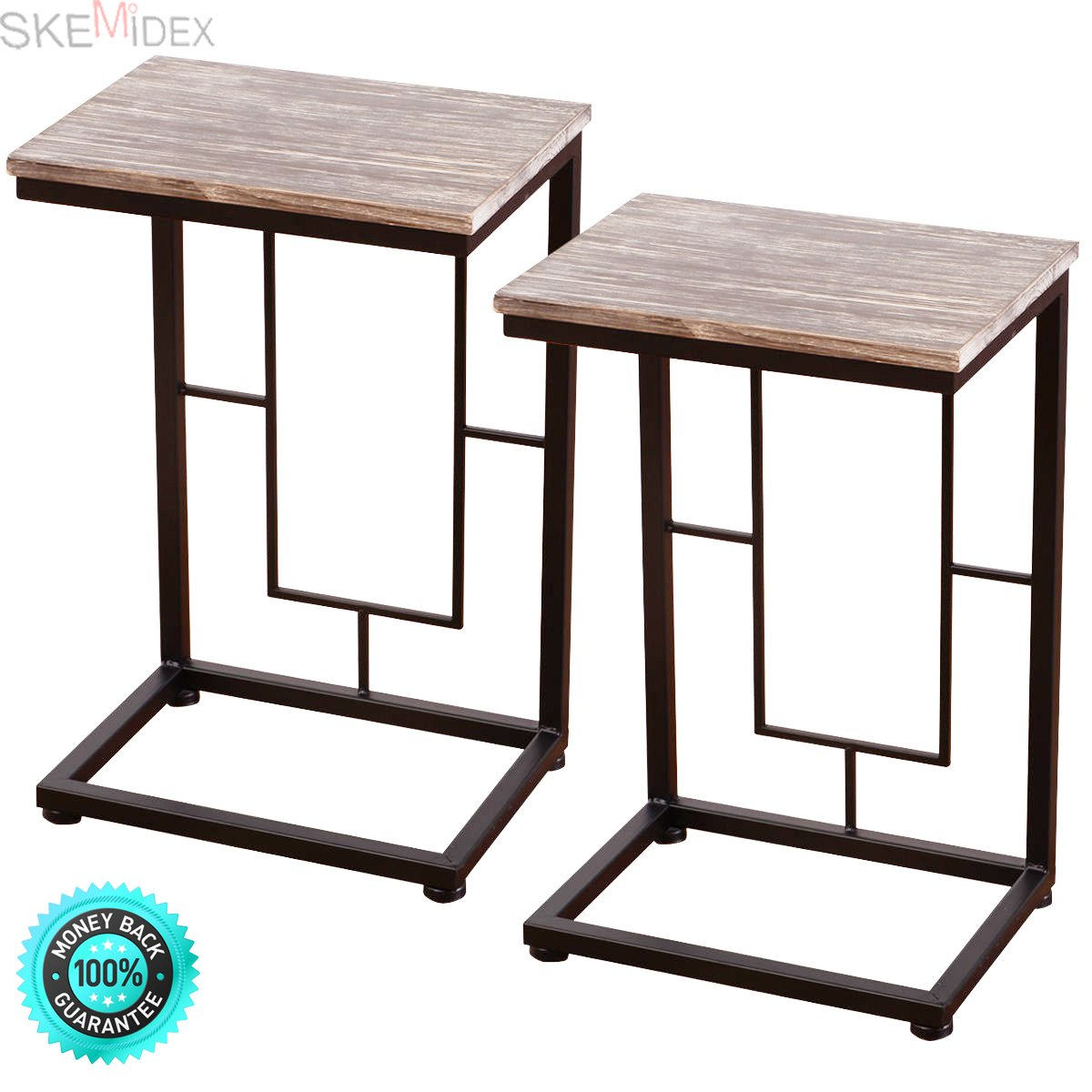 SKEMiDEX-2PCS 21.7'' Wood Coffee Tray Side Sofa End Table Couch Stand Lap Antique Finish. Can be used as end tables, lamp tables, decorative displays tables, or simply accent pieces by SKEMiDEX