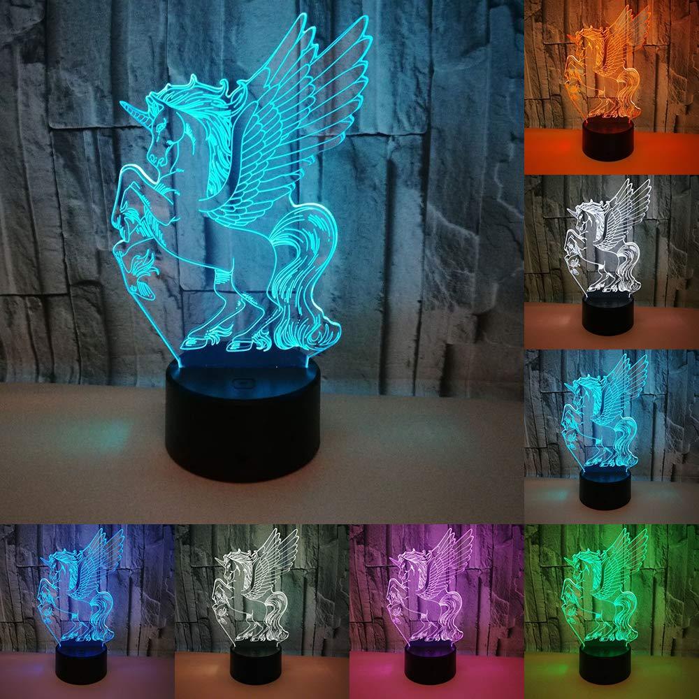 3D LED Lumineux Licorne Nuit Lumi/ère 7 Couleurs LED Table Lampe de Bureau de Bande Dessin/ée Figure Enfants De Chevet Lampe Enfants Cadeaux Danniversaire