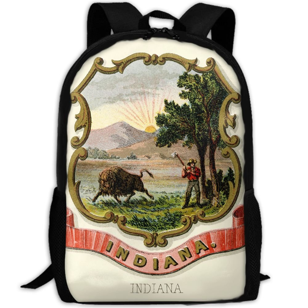 ZQBAAD Indiana State Coat Of Arms Luxury Print Men And Women's Travel Knapsack