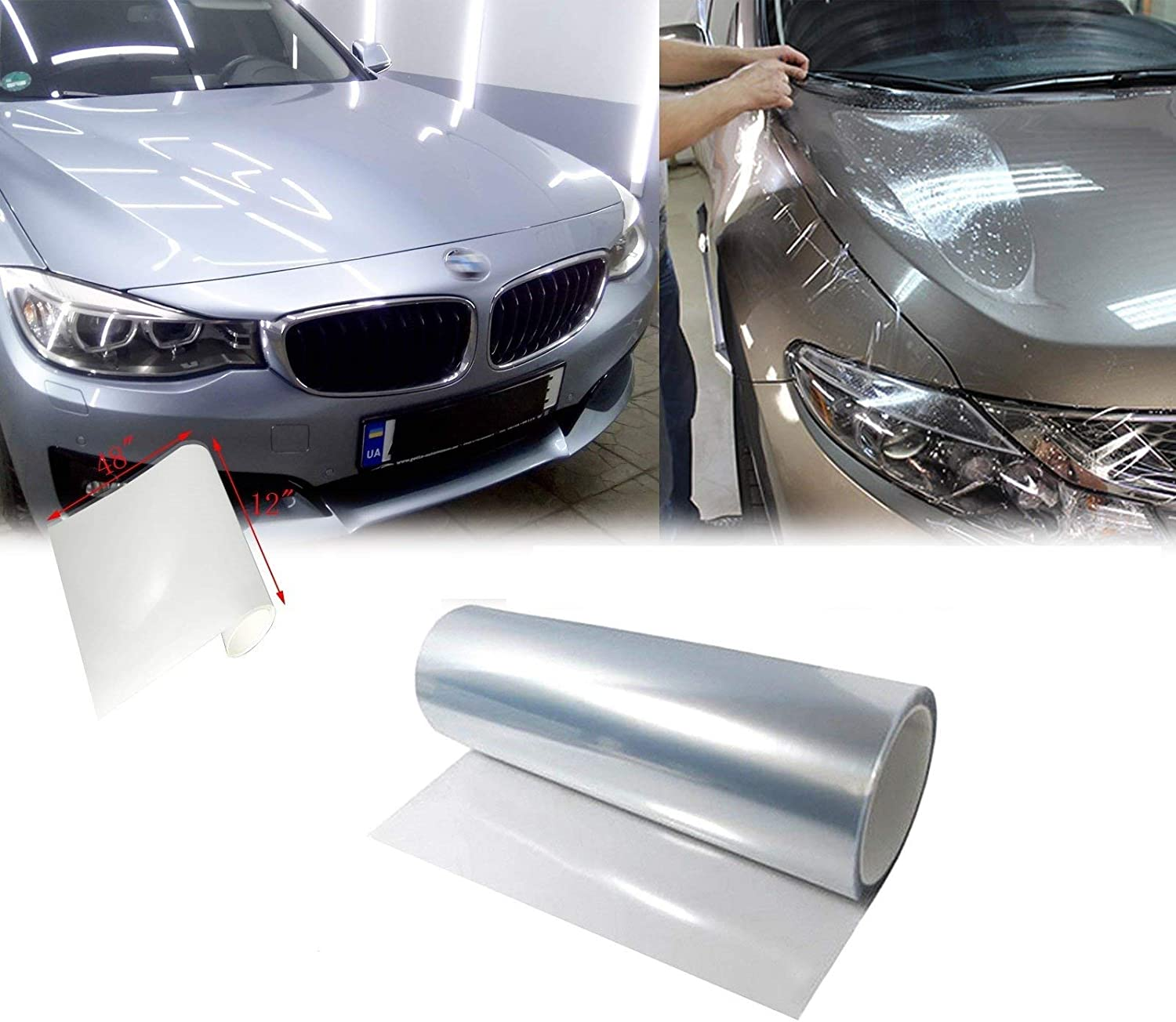 HOHOFILM 2Inch x 20Feet Clear Car Paint Protection Vinyl Film Clear Bra Headlight Bumper Hood Paint Protection Guard Film Anti-Scratch for Door Sill Guard Vinyl Wrap