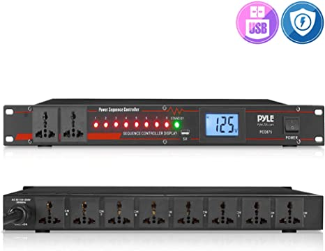 Pyle PCO865 Rack Mount Power Conditioner Strip Power Supply W// USB charge port