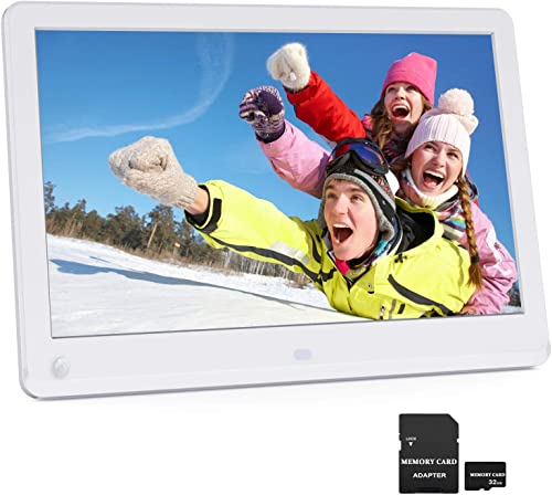 12 Inch Digital Picture Frame 1920×1080 Motion Sensor IPS Screen 16 9 Include 32GB SD Card 1080P HD Video Frame, Photo Auto Rotate, Support 128GB USB Drive, SD MMC MS Card White