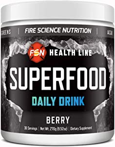 FSN - Superfood Daily Helth Drink | 20+ Whole Foods (Spirulina, Wheat Grass, Barley), Probiotics, Antioxidants, Vitamins and Digestive Enzymes - Berry