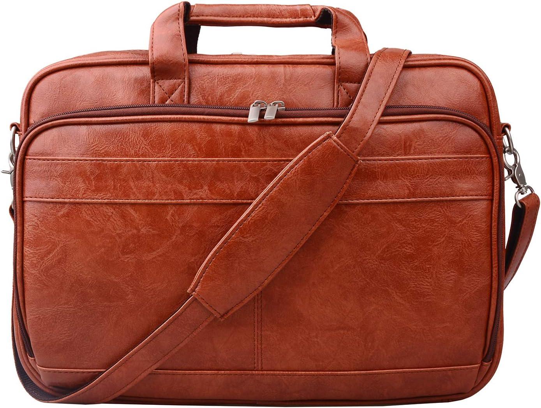 "Jack&Chris PU Leather Briefcases for Men 14"" Laptop Messenger Bag Business Attache Case MBYX014"