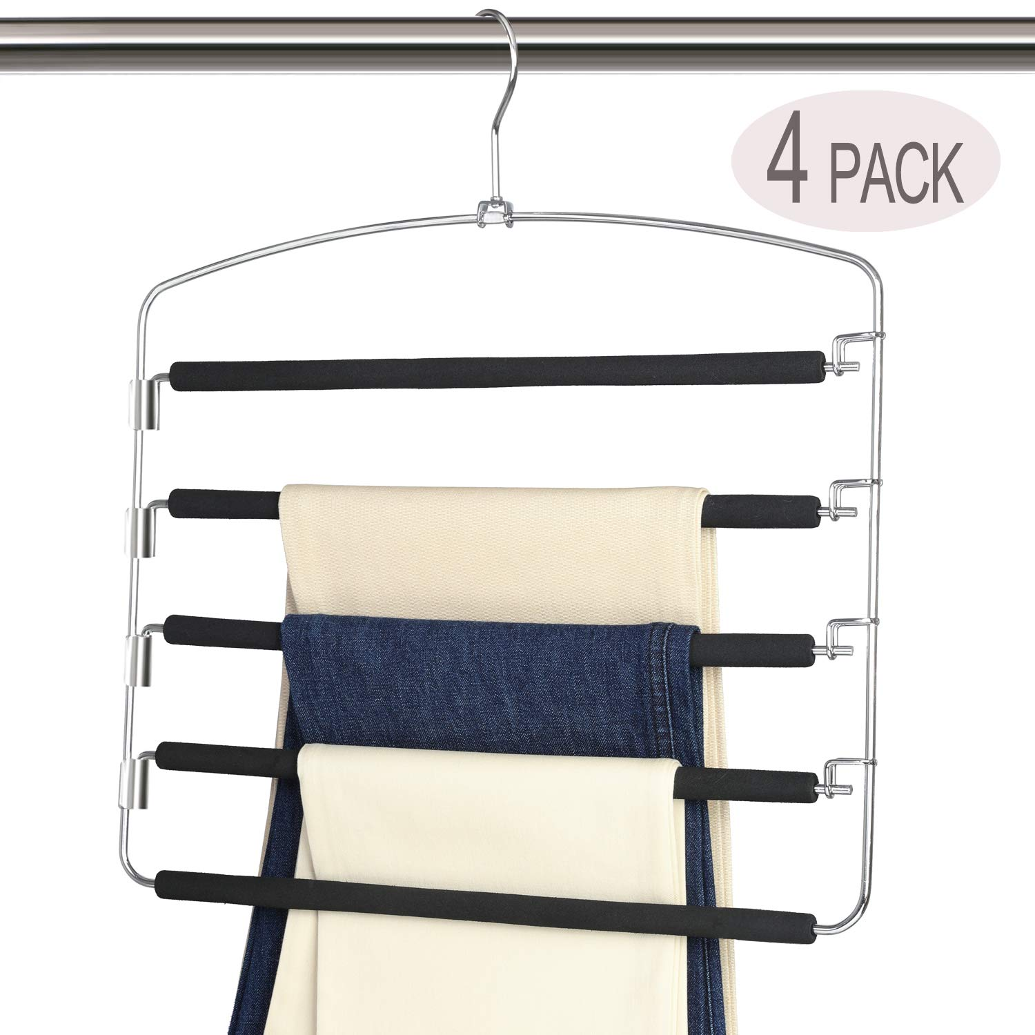 Magicool Space Saving Metal Pants Hangers(4 Pack) 5 Layers Skidproof Foam Padded with Swing Arm Closet Organizer for Pants Jeans Trousers Skirts Scarf Ties by Magicool Hanger