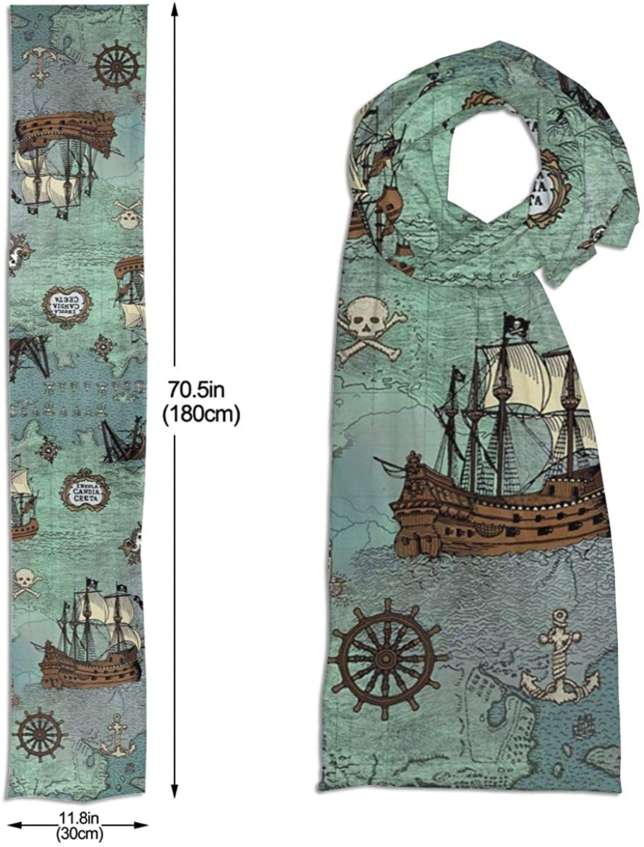 Pirate Map Themed Unisex Cotton Like Soft Shawl Wrap Scarf Neck Wear