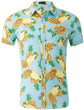 1e33de02 XI PENG Men's Tropical Short Sleeve Floral Print Beach Aloha Hawaiian Shirt  (Aqua Blue Pineapple