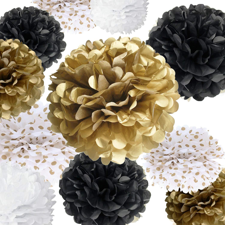 Vidal Crafts 20 Pcs Party Tissue Paper Pom Poms Kit (14'', 10'', 8'', 6'' Paper Flowers) for Wedding, Birthday, Anniversary, Retirement (Black, White, Gold, Polka dot)