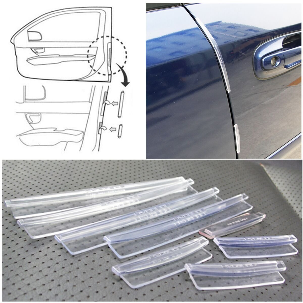 White EKIND 4 Pcs Streamlined Self Adhesive Car Side Door Guard Edge Protector Fit for Most Car