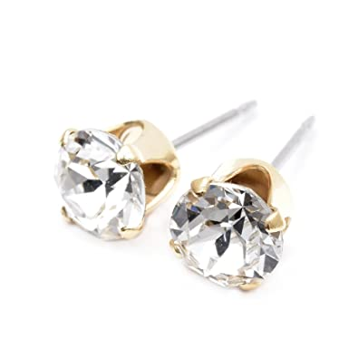 Rose Gold stud earrings expertly made with Smokey Topaz crystal from SWAROVSKI®. ITAJ5
