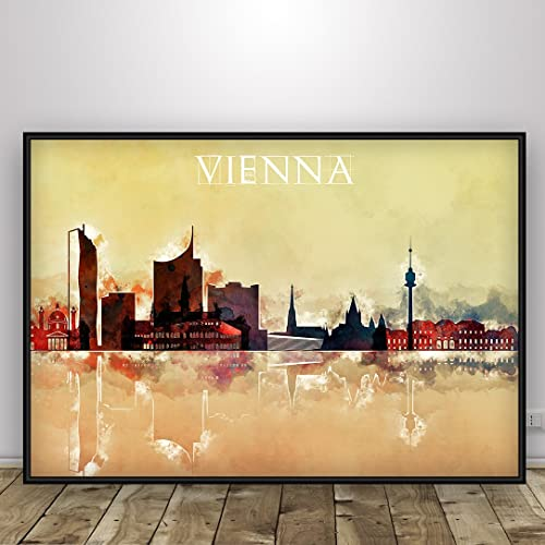 Vienna Watercolor Red Skyline, Vienna Print, Office Decor ...