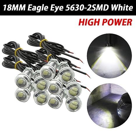TABEN 18mm LED White Eagle Eye Car Light High Power 9W LED Daytime Running DRL Tail Reverse Backup Parking Signal Bulbs 12V Pack of 10