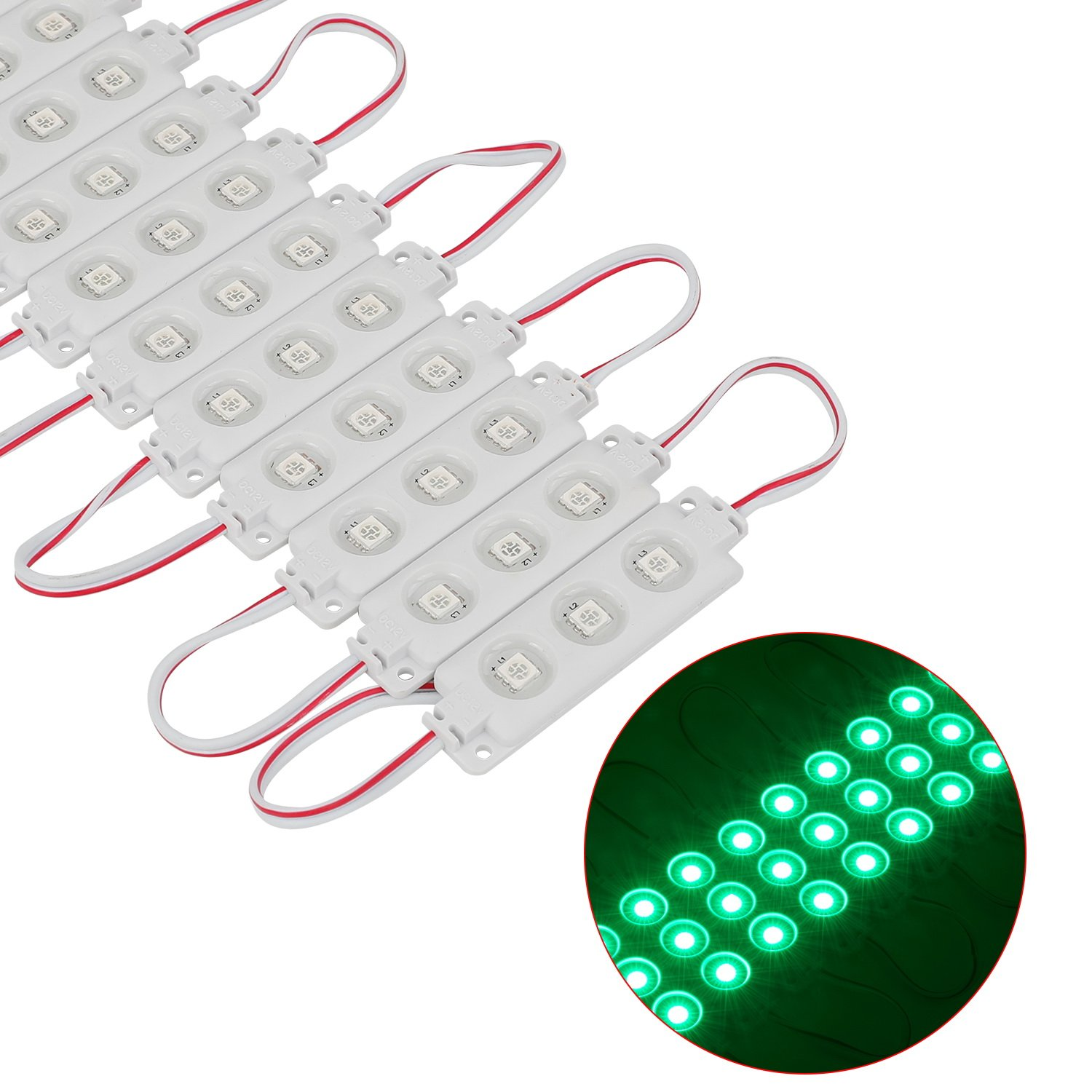 200PCS Injection 3 LED Module Green 5050 SMD 0.72W Waterproof Decorative Back Light for Letter Sign Advertising Signs with Tape Adhesive Backside