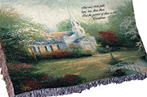 Manual Inspirational Collection Tapestry Throw with Verse, Hometown Chapel by Thomas Kinkade, 60 X 50-Inch