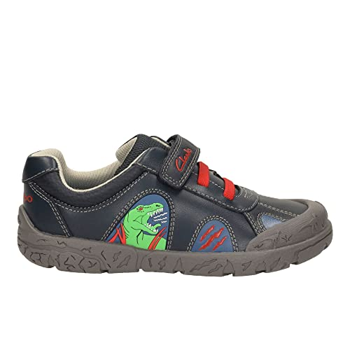 bcf4b3d08ce Clarks Boys Casual Dinosaur Themed Casual Shoes Bronto Walk - Navy Leather  - UK Size 9.5