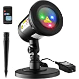 Homitt Christmas Laser Projector Light, 9 Patterns Waterproof Landscape Lamp Moving Rotating Spotlight With RF Remote Control For Halloween, Party, Bar, Wedding, Living Room And Garden Decoration