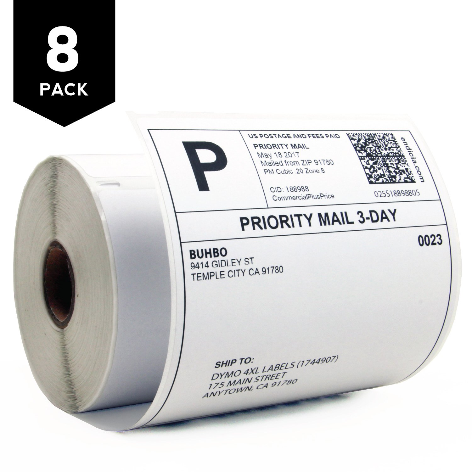 Buhbo DYMO 4XL Compatible 4'' x 6'' Shipping Label 1744907, White (8 Pack / 220 Labels Per Roll) by Buhbo
