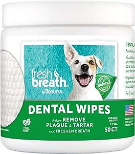 TropiClean Fresh Breath No Brushing Clean Teeth Dental & Oral Care Dental Wipes for Pets, 50ct