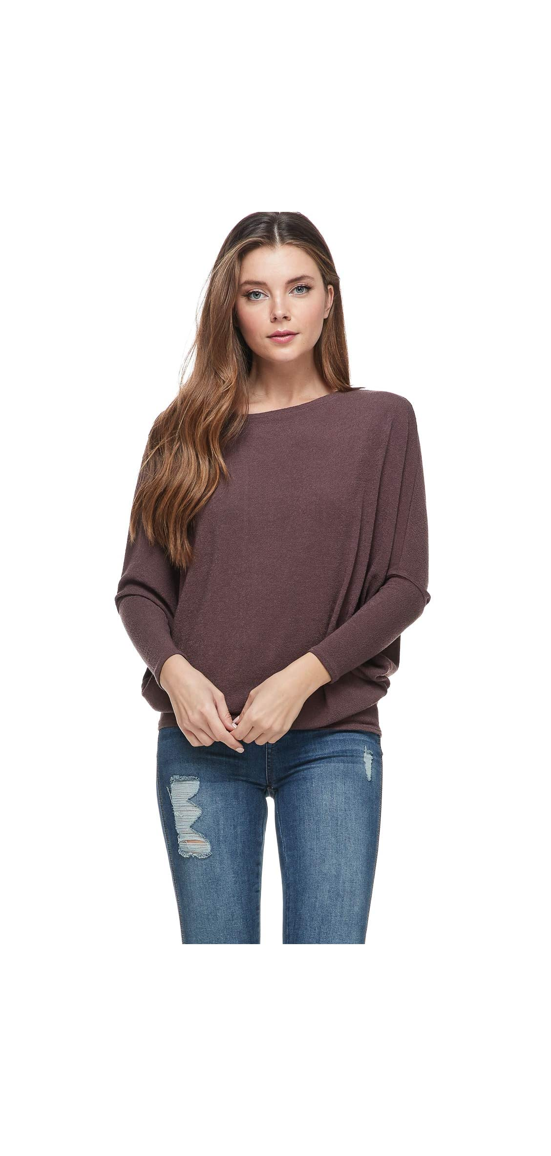 Womens Casual Pullover Dolman Long Sleeve Fit