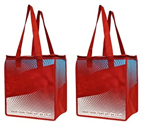 EarthWise 2 Piece Insulated Grocery Bag - Keeps Food HOT OR Cold Large Hot Cold Thermal Shopping Tote w/Zipper Closure