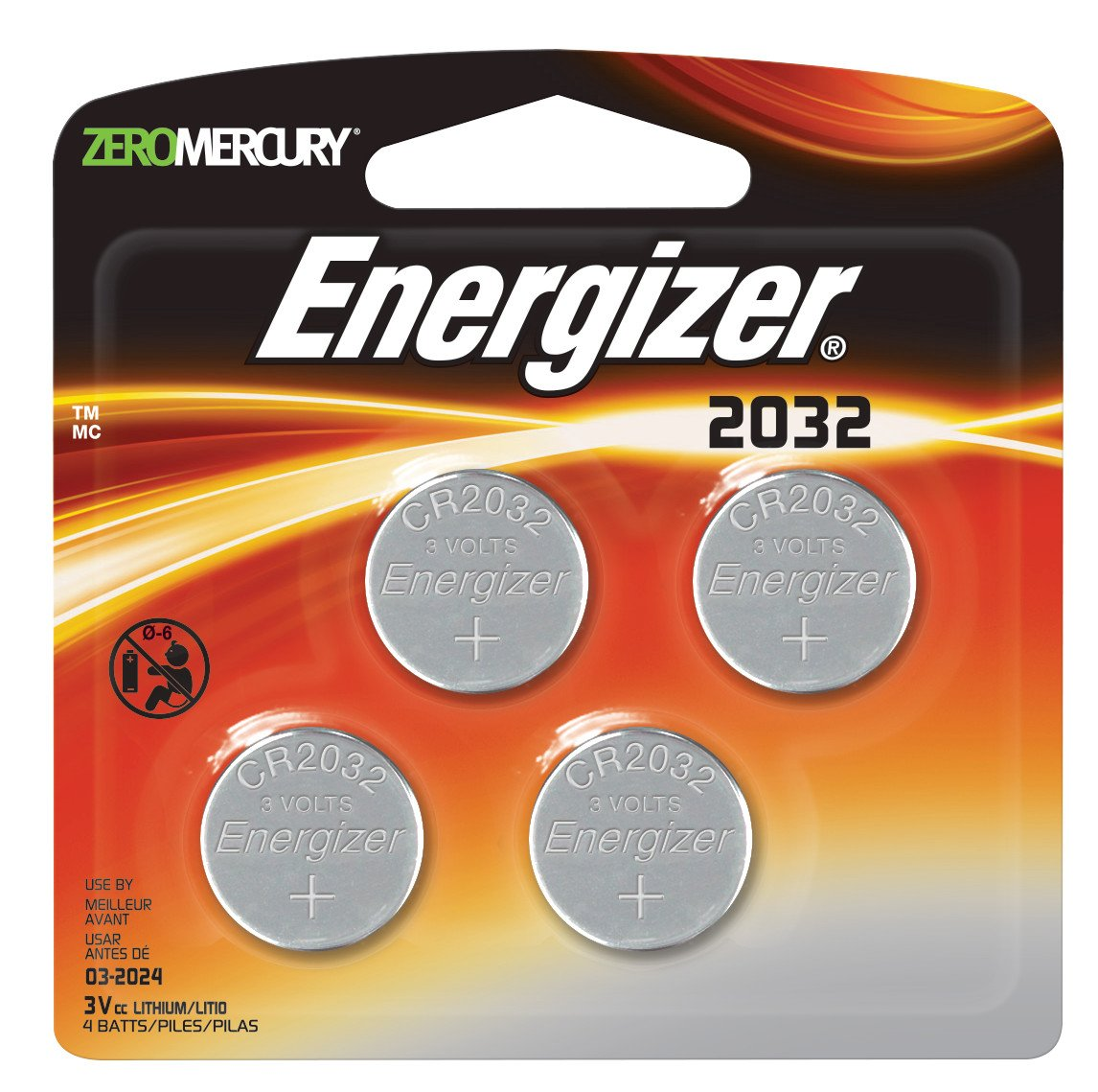 Energizer Watch/Electronic/Specialty Battery, 2032, 3V, 4/Pack (2032BP4)