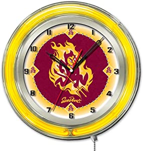 Holland Bar Stool Co. Arizona State Sun Devils HBS Neon Yellow Red Battery Powered Wall Clock (19