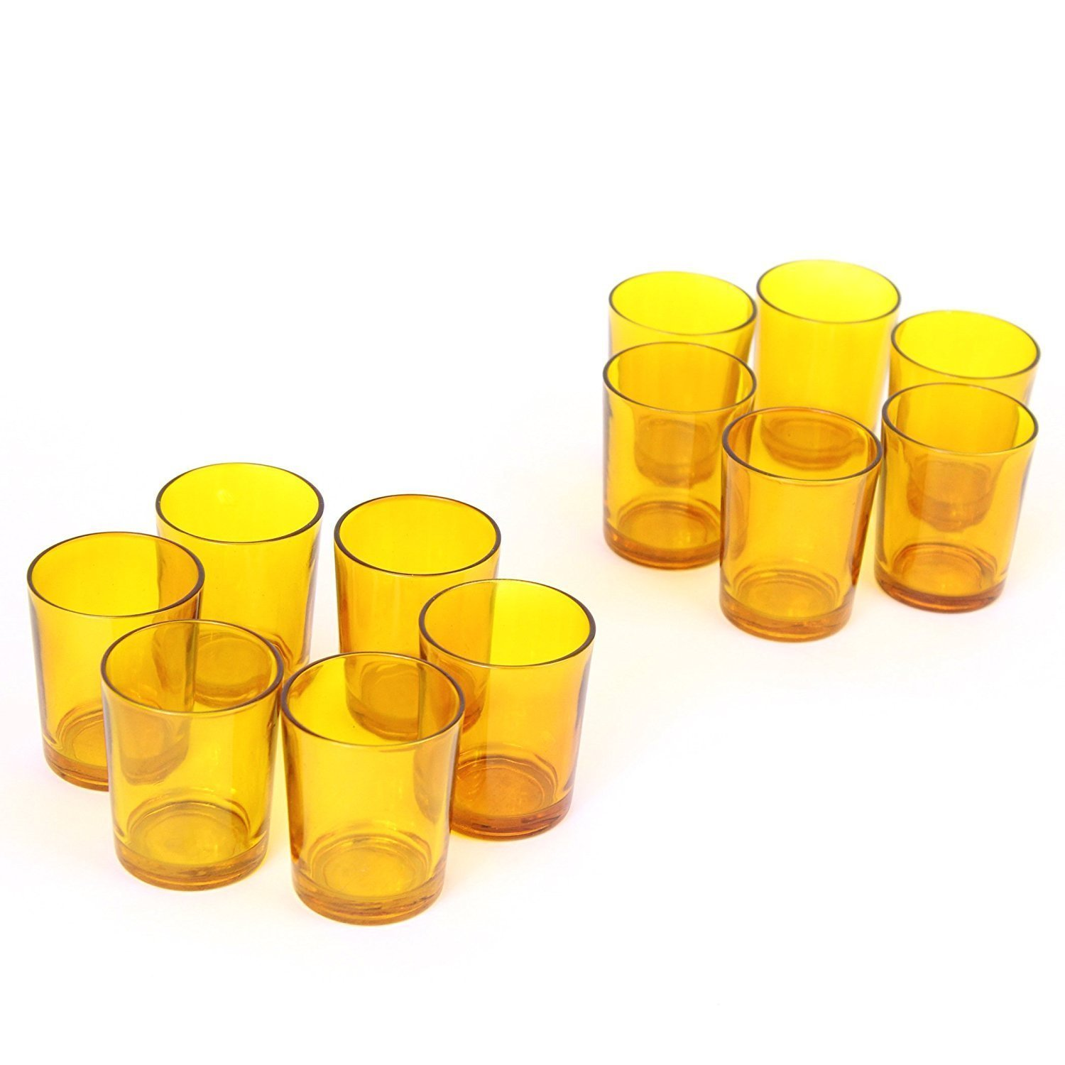Hosley's Set of 12 Amber Glass LED Votive Candle, Tea Light Holders. Ideal for Weddings, Parties, Spa & Aromatherapy. Great Value. Use with Hosley LED Tea Lights and Votive's. Bulk Buy HG Global FBA_FBA-G45655ON-1-EA